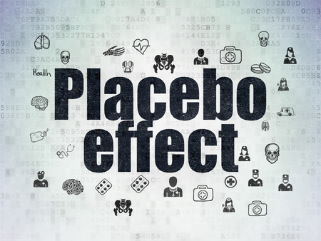 placebo: Medicine concept: Painted black text Placebo Effect on Digital Data Paper background with  Hand Drawn Medicine Icons