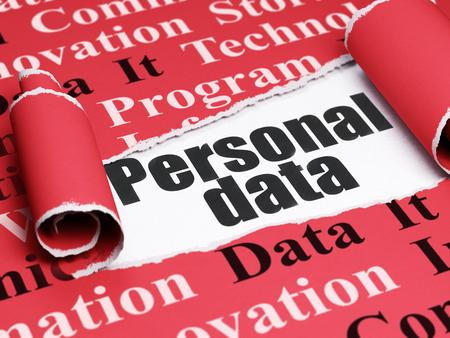 datos personales: Concepto de la informaci�n: texto negro de Datos Personales debajo de la pieza de papel rasgado rizado rojo con la nube de la etiqueta, 3D