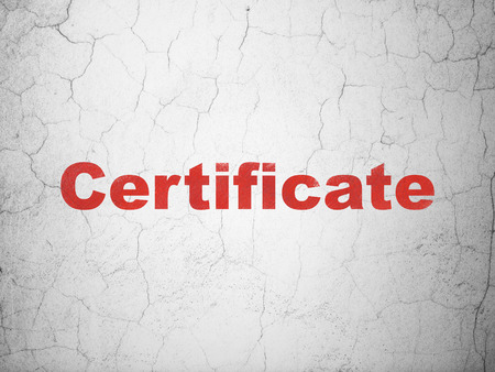 concrete court: Law concept: Red Certificate on textured concrete wall background