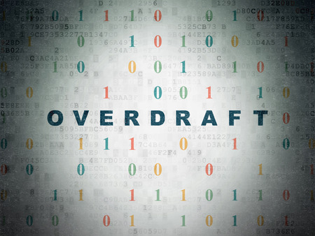 overdraft: Finance concept: Painted blue text Overdraft on Digital Data Paper background with Binary Code