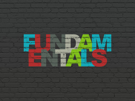 fundamentals: Science concept: Painted multicolor text Fundamentals on Black Brick wall background
