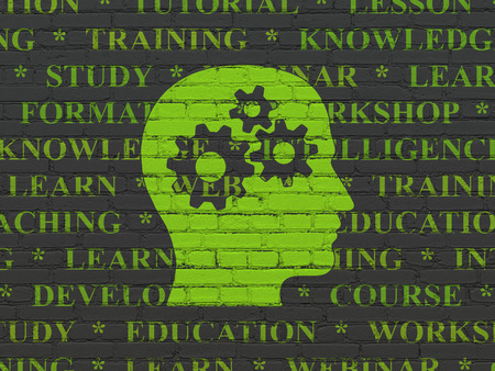 head tag: Education concept: Painted green Head With Gears icon on Black Brick wall background with  Tag Cloud