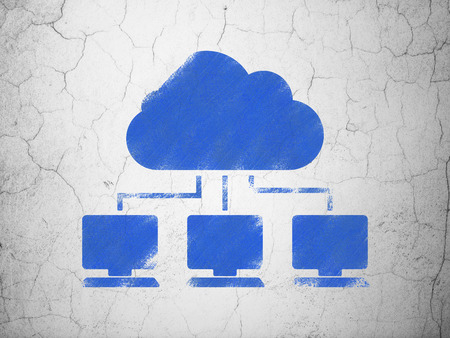 wall cloud: Cloud technology concept: Blue Cloud Network on textured concrete wall background Stock Photo