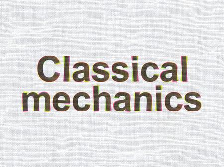 classical mechanics: Science concept: CMYK Classical Mechanics on linen fabric texture background