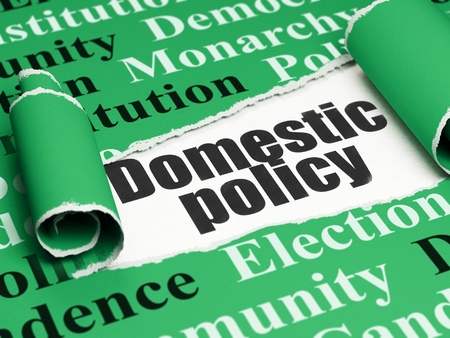 domestic policy: Politics concept: black text Domestic Policy under the curled piece of Green torn paper with  Tag Cloud, 3D rendering