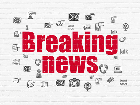urgent announcement: News concept: Painted red text Breaking News on White Brick wall background with  Hand Drawn News Icons