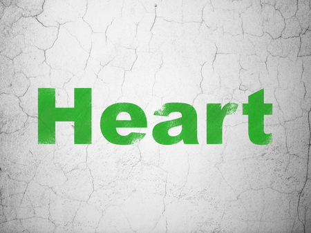 green heart: Healthcare concept: Green Heart on textured concrete wall background
