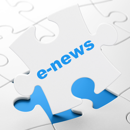 brainteaser: News concept: E-news on White puzzle pieces background, 3D rendering Stock Photo