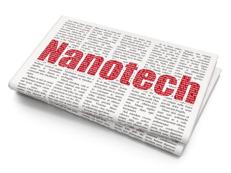 nanotech: Science concept: Pixelated red text Nanotech on Newspaper background, 3D rendering