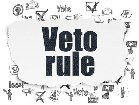 veto: Political concept: Painted black text Veto Rule on Torn Paper background with  Hand Drawn Politics Icons