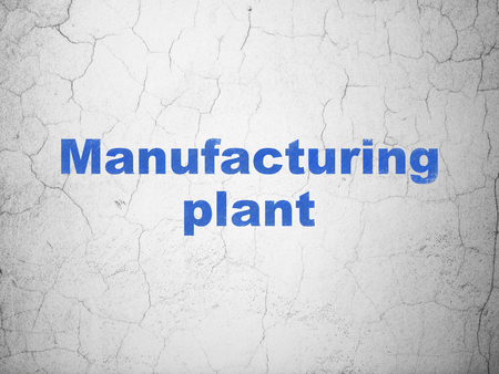 manufacturing plant: Industry concept: Blue Manufacturing Plant on textured concrete wall background Stock Photo