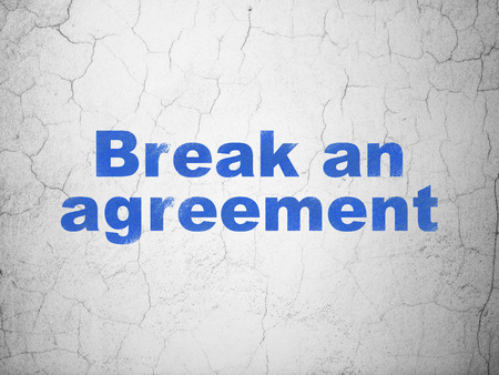 cement court: Law concept: Blue Break An Agreement on textured concrete wall background