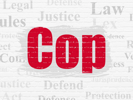 lex: Law concept: Painted red text Cop on White Brick wall background with  Tag Cloud