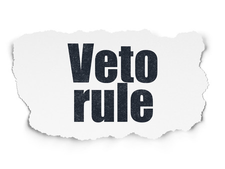veto: Political concept: Painted black text Veto Rule on Torn Paper background with  Tag Cloud