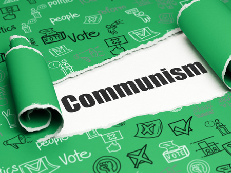 dictatorship: Political concept: black text Communism under the curled piece of Green torn paper with  Hand Drawn Politics Icons, 3D rendering Stock Photo