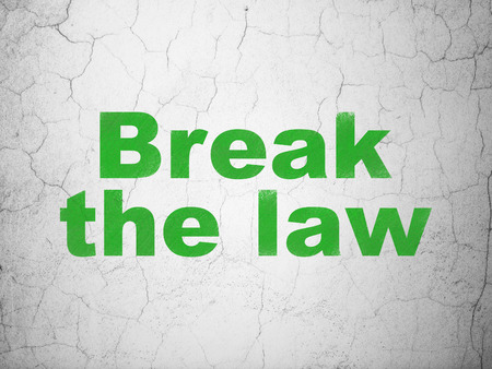 cement court: Law concept: Green Break The Law on textured concrete wall background