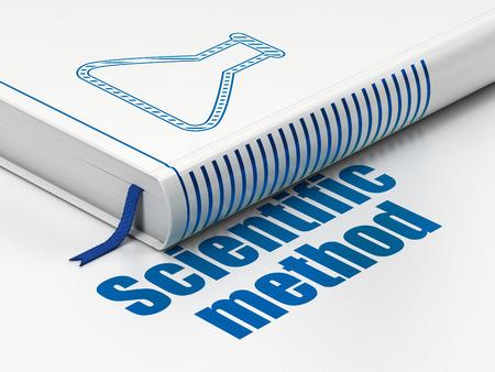 metodo cientifico: Concepto de la ciencia: Libro cerrado con el icono azul Frasco y texto Método Científico en el piso, fondo blanco, 3D Foto de archivo