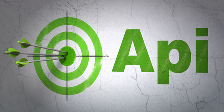 hitting a wall: Success Software concept: arrows hitting the center of target, Green Api on wall background, 3D rendering Stock Photo
