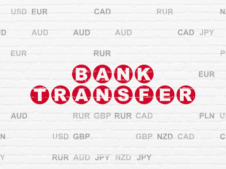 bank transfer: Money concept: Painted red text Bank Transfer on White Brick wall background with Currency