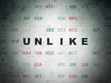 unlike: Social media concept: Painted black text Unlike on Digital Data Paper background with Hexadecimal Code Stock Photo