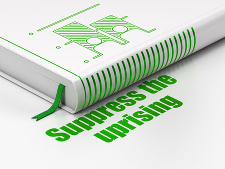 suppress: Political concept: closed book with Green Election icon and text Suppress The Uprising on floor, white background, 3D rendering