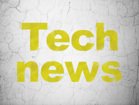 good news: News concept: Yellow Tech News on textured concrete wall background Stock Photo