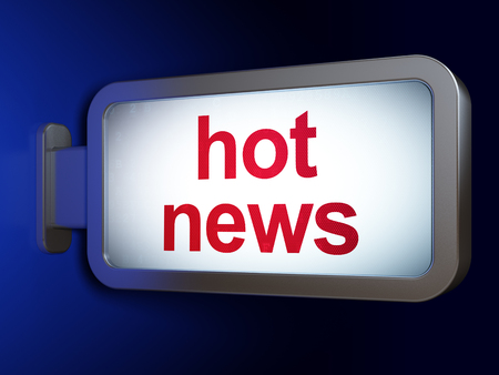 hot news: News concept: Hot News on advertising billboard background, 3D rendering