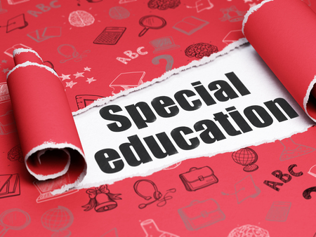 special education: Education concept: black text Special Education under the curled piece of Red torn paper with  Hand Drawn Education Icons, 3D rendering