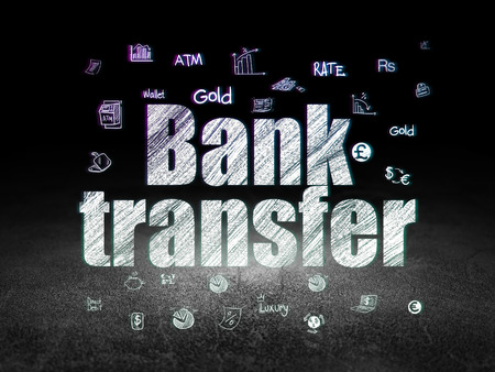bank transfer: Money concept: Glowing text Bank Transfer,  Hand Drawn Finance Icons in grunge dark room with Dirty Floor, black background Stock Photo