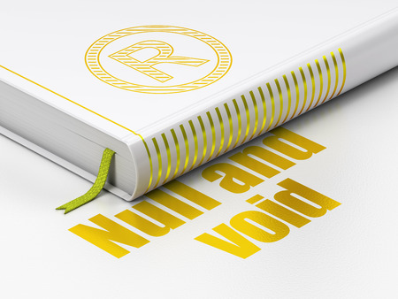 r regulation: Law concept: closed book with Gold Registered icon and text Null And Void on floor, white background, 3D rendering