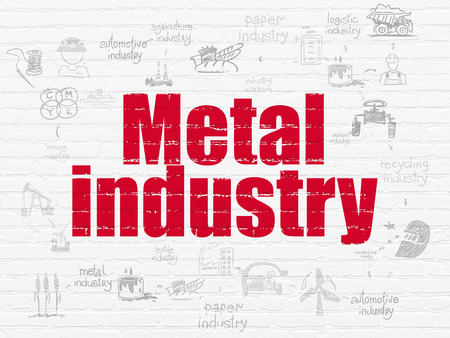 drawn metal: Manufacuring concept: Painted red text Metal Industry on White Brick wall background with Scheme Of Hand Drawn Industry Icons