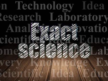 exact science: Science concept: Glowing text Exact Science in grunge dark room with Wooden Floor, black background with  Tag Cloud