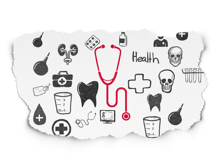 red stethoscope: Health concept: Painted red Stethoscope icon on Torn Paper background with  Hand Drawn Medicine Icons
