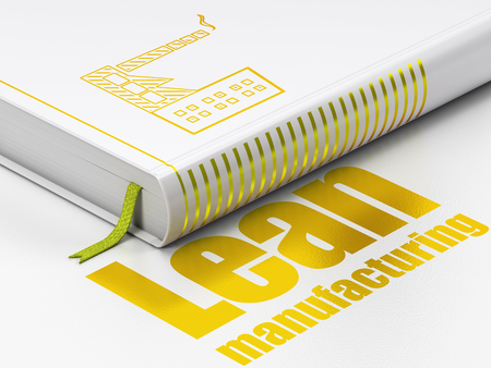 lean: Manufacuring concept: closed book with Gold Industry Building icon and text Lean Manufacturing on floor, white background, 3D rendering