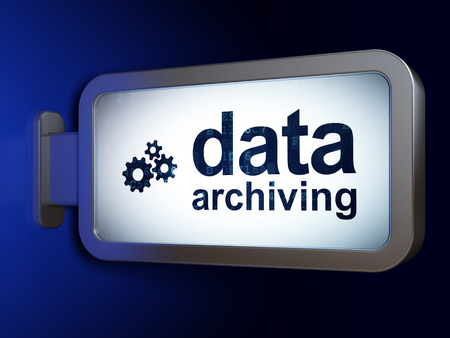 data archiving: Information concept: Data Archiving and Gears on advertising billboard background, 3D rendering Stock Photo