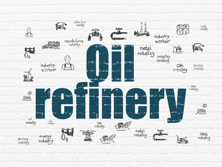 industry background: Industry concept: Painted blue text Oil Refinery on White Brick wall background with  Hand Drawn Industry Icons