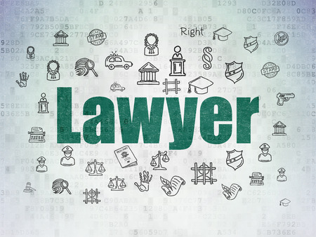 data protection act: Law concept: Painted green text Lawyer on Digital Data Paper background with  Hand Drawn Law Icons