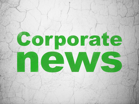 newsprint: News concept: Green Corporate News on textured concrete wall background Stock Photo
