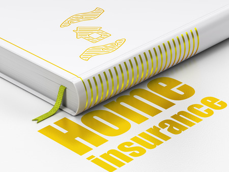 gold house: Insurance concept: closed book with Gold House And Palm icon and text Home Insurance on floor, white background, 3D rendering