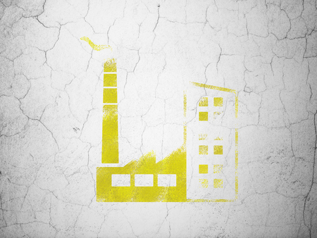cement chimney: Industry concept: Yellow Industry Building on textured concrete wall background Stock Photo
