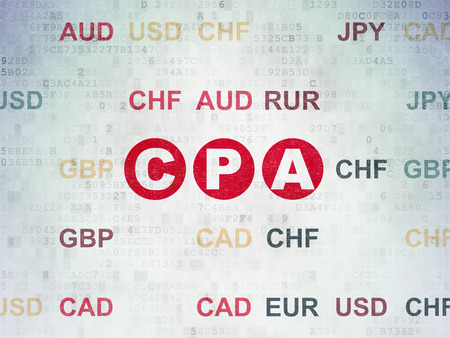 cpa: Finance concept: Painted red text CPA on Digital Data Paper background with Currency