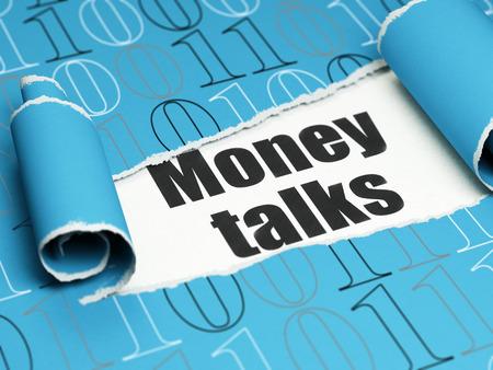 conversaciones: Concepto de las finanzas: texto negro negociaciones del dinero debajo de la pieza rizado de papel rasgado azul con código binario, 3D Foto de archivo