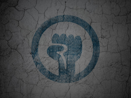 uprising: Political concept: Blue Uprising on grunge textured concrete wall background Stock Photo