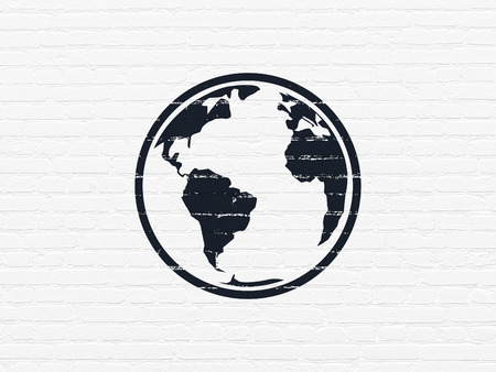 brick earth: Studying concept: Painted black Globe icon on White Brick wall background