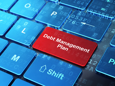 debt management: Business concept: computer keyboard with word Debt Management Plan on enter button background, 3D rendering