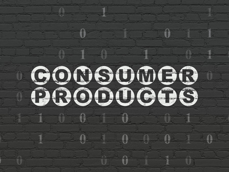 consumer products: Finance concept: Painted white text Consumer Products on Black Brick wall background with Binary Code Stock Photo
