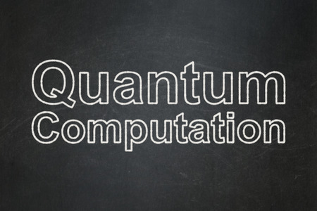 computation: Science concept: text Quantum Computation on Black chalkboard background