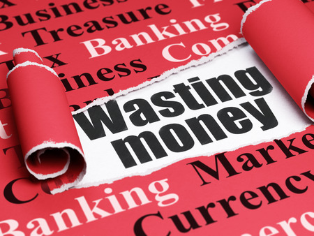 wasting: Money concept: black text Wasting Money under the curled piece of Red torn paper with  Tag Cloud, 3D rendering
