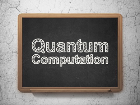 computation: Science concept: text Quantum Computation on Black chalkboard on grunge wall background, 3D rendering Stock Photo