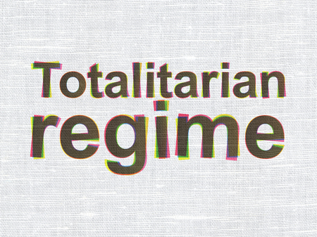 totalitarian: Politics concept: CMYK Totalitarian Regime on linen fabric texture background